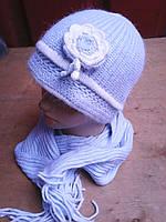 Зимняя шапочка розочка