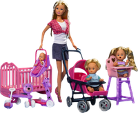 Набор Кукла Штеффи с тремя детьми, мебелью и аксессуарами. Steffi Simba Оригинал!