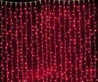 Светодиодная гирлянда штора бахрома красная на 108 диодов