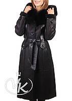 Черная дубленка длинная с капюшоном, фото 1