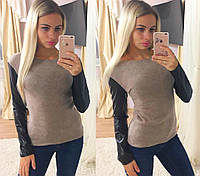 Теплая кофта свитер туника ангора + эко кожа, фото 1