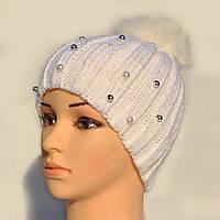 Зимние шапки с меховым помпоном., фото 1