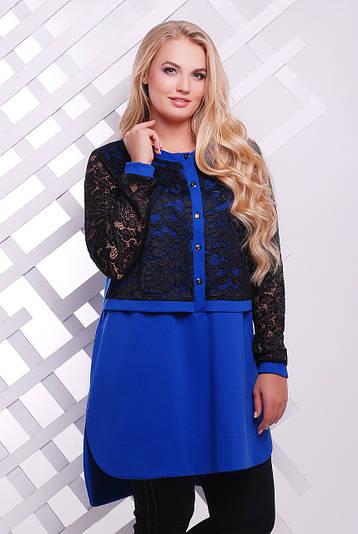 Платье-туника больших размеров Ингрид синяя