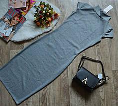 Платье с горлом и коротким рукавом Синее, фото 3