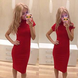 Платье с горлом и коротким рукавом Красное