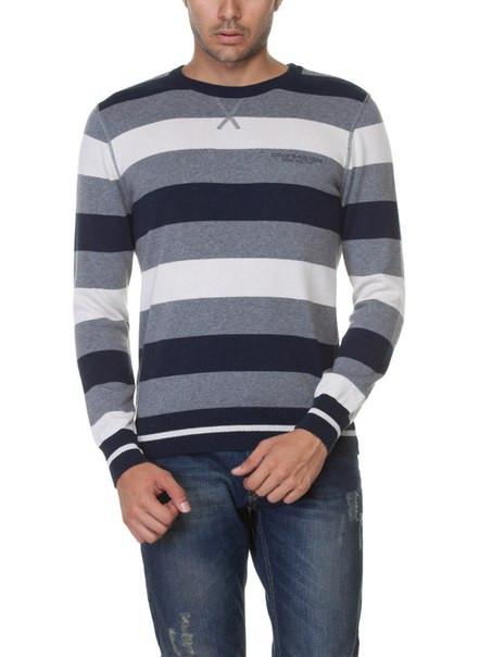 Мужской свитер LC Waikiki / ЛС Вайкики в серо-бело-темно-серыми полосы