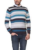 Мужской свитер LC Waikiki в серо-бело-синие полосы L