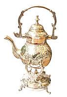 Бронзовый чайник с горелкой с цветным рисунком