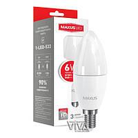 Светодиодная лампа MAXUS C37 CL-F 6W E14 3000K теплый свет 220V (1-LED-533)