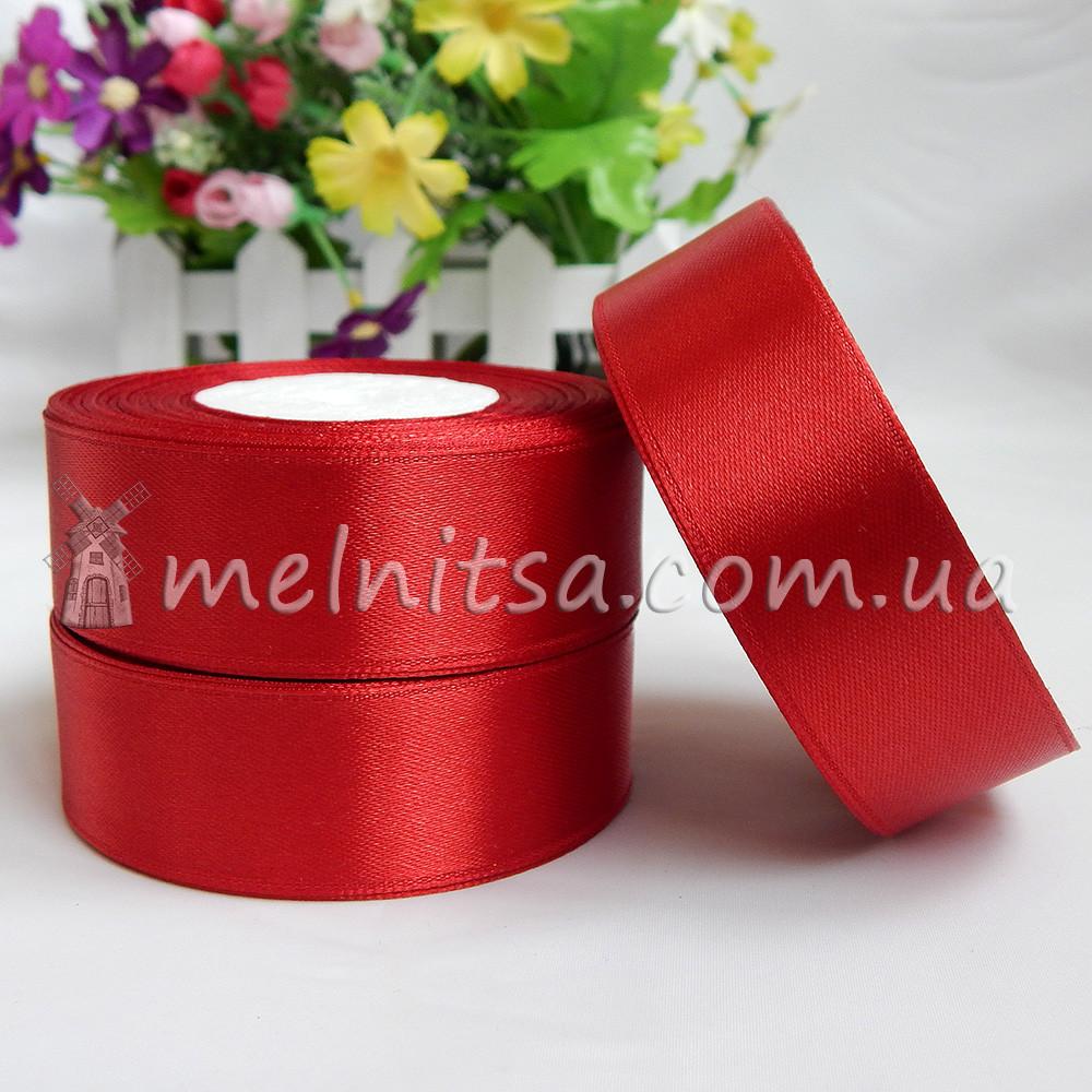Атласная лента 2,5 см, №133 тем.красный, рулон 23 м