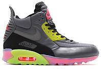 Мужские кроссовки Nike Air Max 90 SneakerBoot Ice (Найк Аир Макс) серые