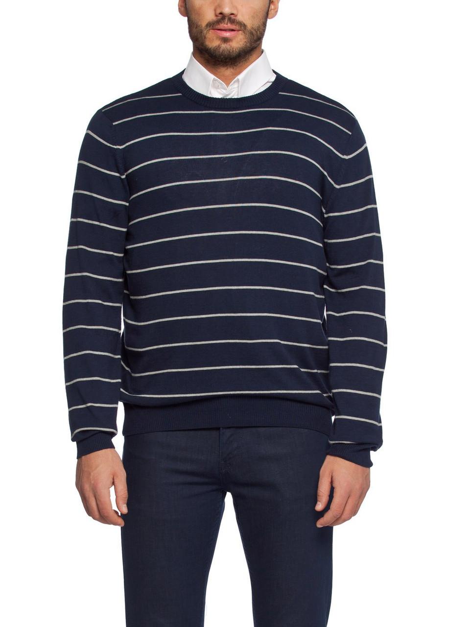 Мужской синий свитер LC Waikiki в белые полоски