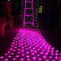 Гирлянда Сетка светодиодная — 120-LED, розовая 1,5х1,2м