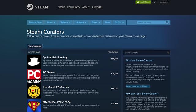 Steam Curators система курирования