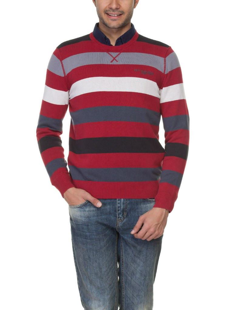 Мужской красный свитер LC Waikiki в бело-серо-черные полоски