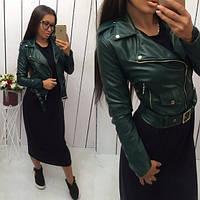 Женская куртка Кожанка темно-зеленая (бутылочный цвет)
