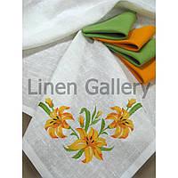 Комплект подарунковий «Лілія» жовтий+зелений (скатертина 140*140см-1шт., серветка 45*45-4 шт)