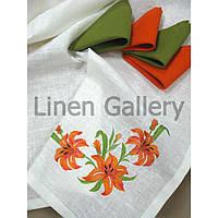 Комплект подарунковий «Лілія» помаранчевий+зелений (скатертина 140*140см-1шт., серветка 45*45-4 шт)