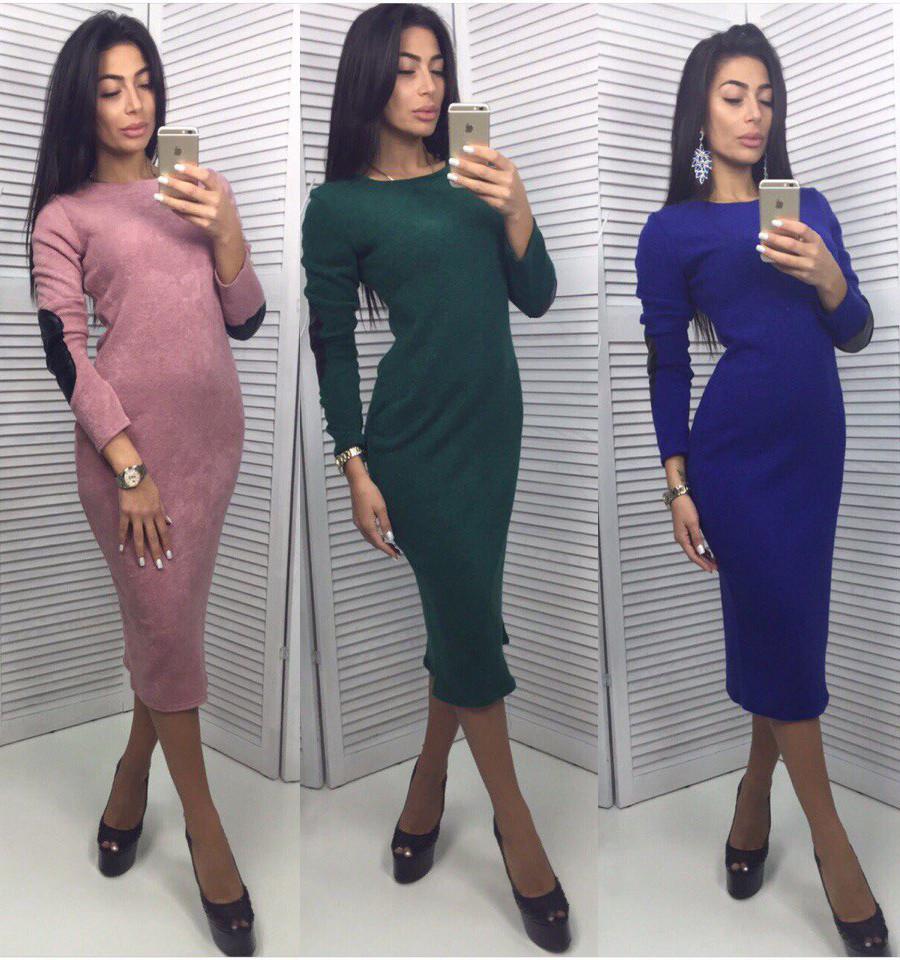 dee6ddc5e575 Теплое Платье футляр из ангоры с латками - Дом моды - женская одежда от  производителя.