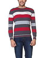 Мужской серый свитер LC Waikiki в бело-красные полосы