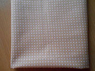 Лоскут ткани №148  с белыми точками на кофейном фоне
