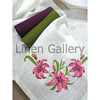 Комплект подарунковий «Лілія» ліловий+зелений (скатертина 140*140см-1шт., серветка 45*45-4 шт)