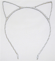 Основа для ободка (ободок-обруч) Кошачьи ушки уши Серебряный 1 шт