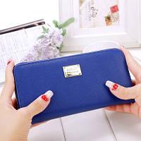 Женский кошелек с золотой пластиной на молнии большой синий
