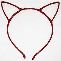 Основа для ободка (ободок-обруч) Кошачьи ушки уши Красный 1 шт