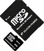 Карта памяти Silicon Power MicroSDHC 8GB Class 4 +SD adapter