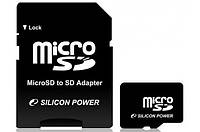 Карта памяти Silicon Power MicroSDHC 16GB+SD adapter (class 4)