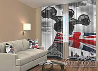 """ФотоШторы """"Британский флаг"""" 2,5м*2,6м (2 полотна по 1,30м), тесьма"""