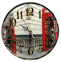 Телефонная будка настенные часы стекло