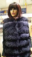 Шикарная женская жилетка из меха песца пепельного цвета