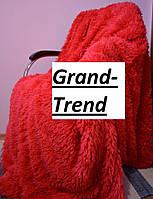 Меховое бумбуковое покрывало на кровать Евро размера East Comfort - красный цвет