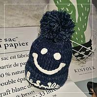 Женская теплая вязаная шапка с бубоном (помпоном) Be Smile синяя