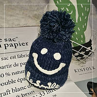 Женская теплая вязаная шапка с бубоном (помпоном) Be Smile синяя, фото 1