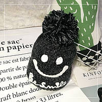 Женская теплая вязаная шапка с бубоном (помпоном) Be Smile черная