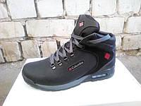 Мужские зимние ботинки Columbia черные из натуральной кожи.