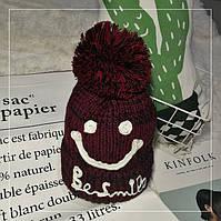 Женская теплая вязаная шапка с бубоном (помпоном) Be Smile бордовая, фото 1