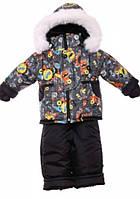 Детский зимний костюм на овчине-подстежке (от 6 до 18 месяцев) Черная машина