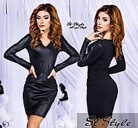 Красивое  турецкое молодежное  платье со вставкой кожзам