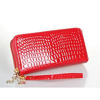 Женский кошелек Рептилия на двойной молнии большой красный, фото 1