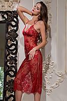 Длинная сорочка из кружева Шантильи Chanel red
