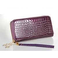 Женский кошелек Рептилия на двойной молнии большой фиолетовый, фото 1