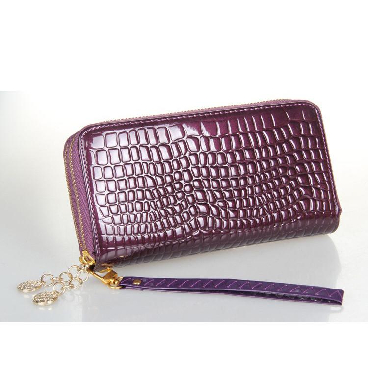 Женский кошелек Рептилия на двойной молнии большой фиолетовый