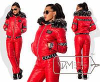 Женский теплый зимний костюм на синтепоне с опушкой\ красный