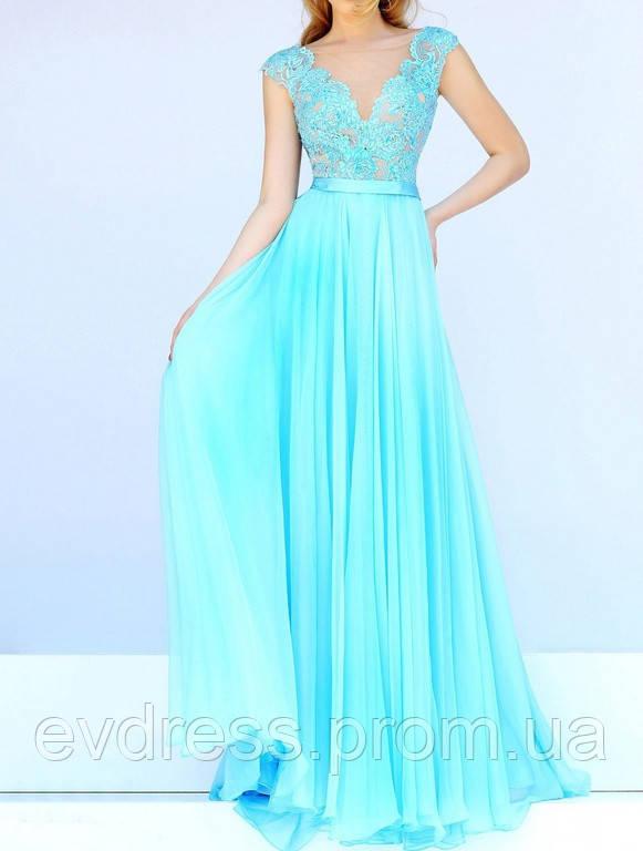 a52b3f6c0af Шикарное Выпускное Платье в Пол Бирюзовое V-вырез DL-596-3  продажа ...