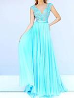 DL-596-3 Выпускное Макси Платье Бирюзовое V-вырез