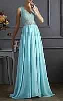 Вечернее Голубое Макси Платье на Выпускной DL-528
